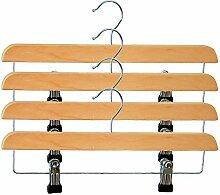 H & L Russel Kleiderbügel, verstellbarer Clip Bar beige, 4Stück