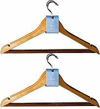 H & L Russel Lotus Kleiderbügel aus Holz mit rutschfesten Bar, Beige, 44cm, 6Stück