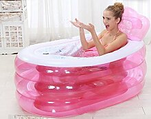 H&L Verdickte erwachsene aufblasbare faltende Badewanne (Größe: 130 * 75 * 70 Cm) (farbe : Pink, größe : Electric Pump)