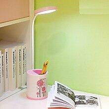 H&M Led Eye-caring Schreibtischlampe USB wiederaufladbare 3 Level Touch Control Dimmable Students Lernen Lesen Beleuchtung Stift Fall Tischlampe Portable Schlafzimmer Mini Bett Licht , pink (white)