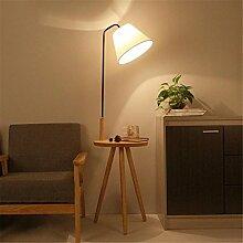 H&M Standleuchte Stehlampe Hölzerne Stativ-Stehleuchte Moderne zeitgenössische Tablett Tisch Standing Leselicht Lampe mit Stoff Lampenschirm und Knopf Schalter für Schlafzimmer Wohnzimmer