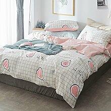 H-M-STUDIO Bettzeug Satz mitVier Stücke ausReiner Baumwolle und Kleine Frische BettwäscheBettbezugPillowcase, Papaya, 1,2 M (4 Fuß) Be