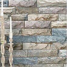 H&M Tapete PVC Retro 3D Nachahmung Ziegel Textur Imitation Stein Textur Tapete Dekor Bar Schlafzimmer TV Wand Wohnzimmer Tapete-53cm (W) * 10 m (L) ,B