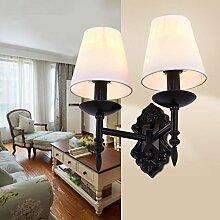 H&M Wandlampe Amerikanische Eisen Bett Wohnzimmer Schlafzimmer Flur Esszimmer Stoff Einzel-Doppel Wandleuchte , meters white , 2 head