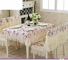 H&S Garten Spitze Stuhl decken Kissen Stuhl gesetzt Tischdecke Tischdecke mit mehr Handtücher - D 125 x 125 cm (49 x 49 Zoll)