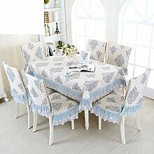 H&S Platz Tischdecken Stoff Tee Tischdecke pastorale Tischdecke Set Stuhl Tisch Tuch europäischen Rechteckige Tischdecke-I 130 * 180 cm (51 x 71 Zoll)