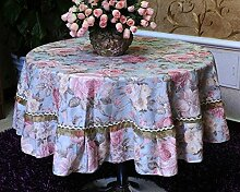 H&S Runde Tischdecke Stoff runde Tischdecke Tischdecke Tischdecke Tischdecke mit einem Durchmesser von 220 cm (87 Zoll)
