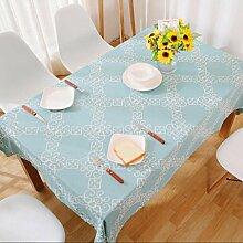 H&S Slick bestickten Stoff einfach Blau pastorale Quadratische Tischdecke, 1 140 * 200 cm.