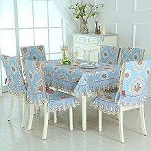 H&S Tischdecke mit rechteckigen Tischdecke Garten Stuhl Abdeckung Hocker Set Table Set Sitzkissen Set-F 130 * 180 cm (51 x 71 Zoll)
