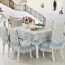 H&S Tischdecke mit Spitze Tischdecke Abdeckung im Europäischen Stil Tischdecke Anzüge Stuhlhussen Kissen Set-K 150 x 150 cm (59 x 59 Zoll)