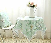H&S Tischdecke modernen Ländlichen einfache Raster mit Spitze frisch Couchtisch Esstisch Tuch Rechteck grün Wasserdicht und Ölfesten (Größe: 140 x 200 cm)