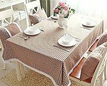 H&S Tischdecke modernen Ländlichen einfache Raster mit Spitze frisch Couchtisch Esstisch Tuch Rechteck Braun Wasserdicht und Ölfesten (Größe: 140 x 220 cm)