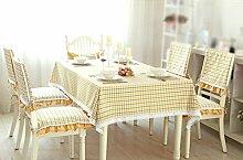 H&S Tischdecke modernen Ländlichen einfache Raster mit Spitze frisch Couchtisch Esstisch Tuch Rechteck gelb Wasserdicht und Ölfesten (Größe: 140 x 240 cm)