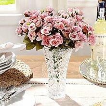 H&X Wohnzimmer Dekoration Künstliche rosenblüten, Glasvase mit 3 sätze der simulation mary rose-C