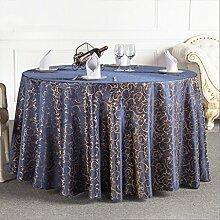H&Y HY Tischdecken Hotel Restaurant Tischdecke Startseite Couchtisch Runde Tischdecke Europäische Pflanze Blumenmuster Tischdecke (Farbe : Navy Blau, Größe : 180CM)