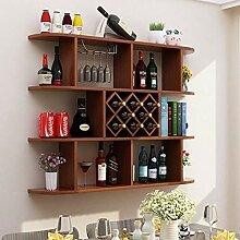H1023 Weinregal aus Holz, Wandmontage, für