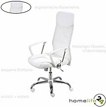 H24 Ergonomischer Bürostuhl Drehstuhl Chefsessel mit Netzgewebe hochwertige Verarbeitung mit extra hoher Rückenlehne, Armlehnen und Wippmechanik belastbar bis 120 kg