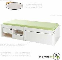 H24living Schönes Funktionsbett aus Massivholz 90 x 200cm 1 große Schublade auf Rollen 4 Regalfächer 2 Fächer und Lattenrost Weiß