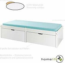 H24living Sehr schönes Bett 90 x 200 cm für Ihr Schlafzimmer Massivholz Kiefernholz weiß mit 2 große Schubladen und 1 Lattenros