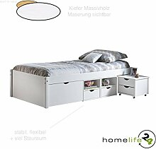 H24living Sehr schönes Funktionsbett 90 x 200 cm für Ihr Schlafzimmer Massivholz Kiefernholz weiß mit großer Schublade auf Rollen 4 Regalfächer 2 Schubkästen Kommode