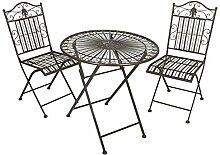 H4L Balkonset 1x Tisch 2X Stuhl Stahl rostoptik,