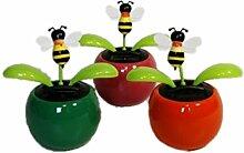 HAAC 4er Set Solar Wackelblume Blume Motiv Biene