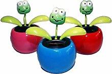 HAAC 4er Set Solar Wackelblume Blume Motiv Frosch