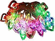 HAAC LED Lichterkette Herz Herzen mit 30 bunten