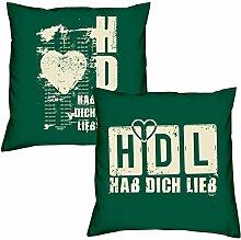 Hab Dich lieb HDL Hab Dich lieb zum Valentinstag, Muttertag, Vatertag, Kissen, Dekokissen, Geschenkidee für Sie und Ihn