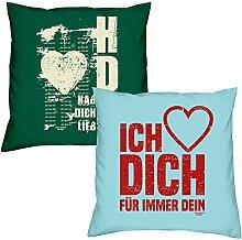 Hab Dich lieb Ich liebe Dich zum Valentinstag, Muttertag, Vatertag, Kissen, Dekokissen, Geschenkidee für Sie und Ihn