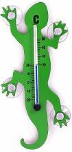 HAB & GUT (TG001-GRÜN) Fenster - Thermometer Gecko GRÜN Metall, 14 cm Länge, Salamander mit 4 starken Saugnäpfen zur Befestigung innen/außen