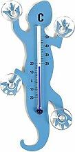 HAB & GUT (TG001-HELLBLAU) Fenster - Thermometer Gecko HELLBLAU Metall, 14 cm Länge, Salamander mit 4 starken Saugnäpfen zur Befestigung