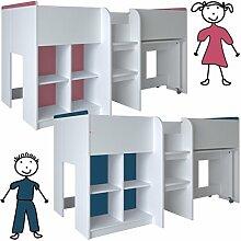 habeig Kinderbett HOCHBETT weiß rosa/blau