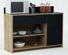 habeig Küchenschrank 223 Eiche-schwarz Schrank