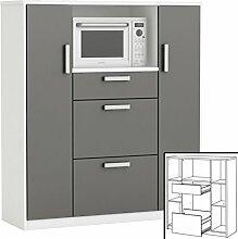 habeig moderner Küchenschrank #8540 weiß grau