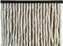 habeig Türvorhang Flauschvorhang Flauschi Chenille Insektenschutz uni-farben (beige/weiss, 120 x 230 cm)
