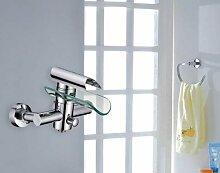 HAC24 Aufputz Wasserfall Glas Wannenarmatur Chrom
