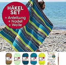 Häkel-Set myboshi Kuscheldecke Arata: 130x160cm: Häkelanleitung + Häkelnadel + 32x50g myboshi Wolle No.1 + selfmade Label: Farben ➧6x Ocker ➧6x Minze ➧6x Petrol➧11x Türkis ➧3x Avocado