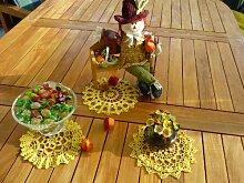 Häkeldeckchen Spitzendeckchen Deckchen Untersetzer Tischdecke rund eckig Echte Handarbeit Farben: gelb schwarz rot und blau