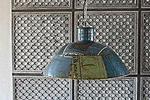 Hänge Lampe Ø 51 cm Alte Industrielampe Blau/Grün Loftlampe Fabrik Deckenlampe