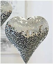 Hängedeko Hänger HERZ MOSAIK Metall Glas Keramik
