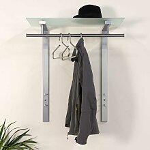 Hängegarderobe mit Glas-Hutablage Stahl in
