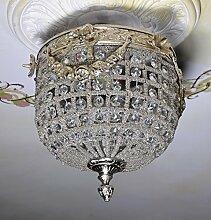 Hängelampe Deckenleuchte Glas Silber Shabby Kugel