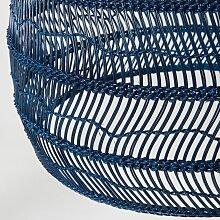 Hängelampe mit Aufhängung aus Pflanzenfaser, blau