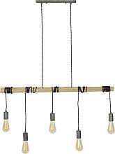 Hängeleuchte im Industrie-Look 5 Leuchten Bambus