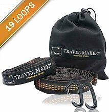 Hängematte Band mit 2 Verschlusskarabiner -Kombinierte 2200 Ib Bruchfestigkeit Hochleistungs-Polyester-Gurtband für Camping Hängematten (Orange)