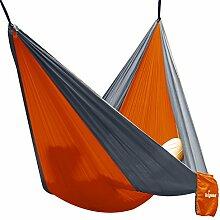 Hängematte Camping Hammock Single/Double Parachute, leicht und tragbar, mit extra Schlafaugenmaske Augenbinde Blindfold für für Outdoor/Camping/Reisen (Double, Orange/Grau)