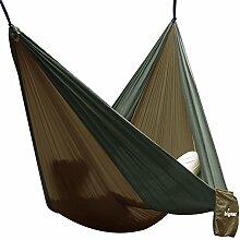 Hängematte Camping Hammock Single/Double Parachute, leicht und tragbar, mit extra Schlafaugenmaske Augenbinde Blindfold für für Outdoor/Camping/Reisen (Single, Kamel/Armeegrün)