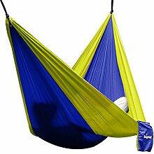 Hängematte Camping Hammock Single/Double Parachute, leicht und tragbar, mit extra Schlafaugenmaske Augenbinde Blindfold für für Outdoor/Camping/Reisen (Double, Royalblau/Gelb)