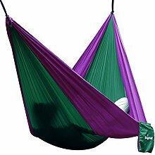 Hängematte Camping Hammock Single/Double Parachute, leicht und tragbar, mit extra Schlafaugenmaske Augenbinde Blindfold für für Outdoor/Camping/Reisen (Double, Dunkelgrün/Lila)
